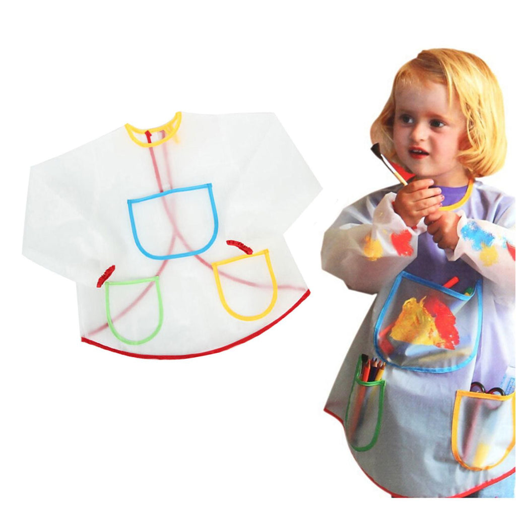 Multifunctional Kids Baby Apron Smock with 3 Pockets Painting Drawing Home Apron Anti-Wear Waterproof Costume Crafts