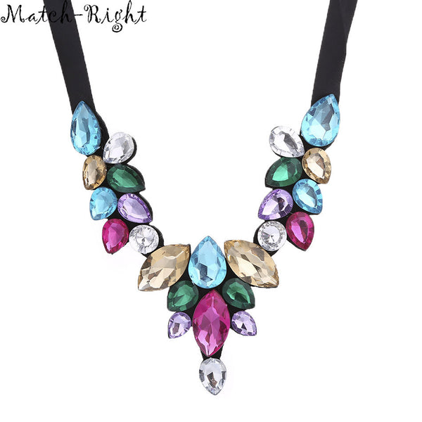 Match-Right Women Necklace Multicolor Statement Necklaces Pendants Glass Jewelry Collar Necklace Women Accessories KK039