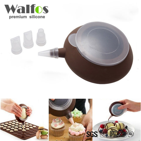 Walfos Good Quality Food Grade Silicone 1set Macaron Decorative Tool  Muffin/Cake DIY Mold Dessert decorate Tips Squeezing Nozzle Tool