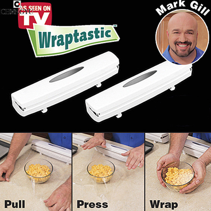 Wraptastic Kitchen Roll Cutting Dispenser Food Wrapper Plastic Foil Wax Paper As seen on TV Cling film cutter S2TV013