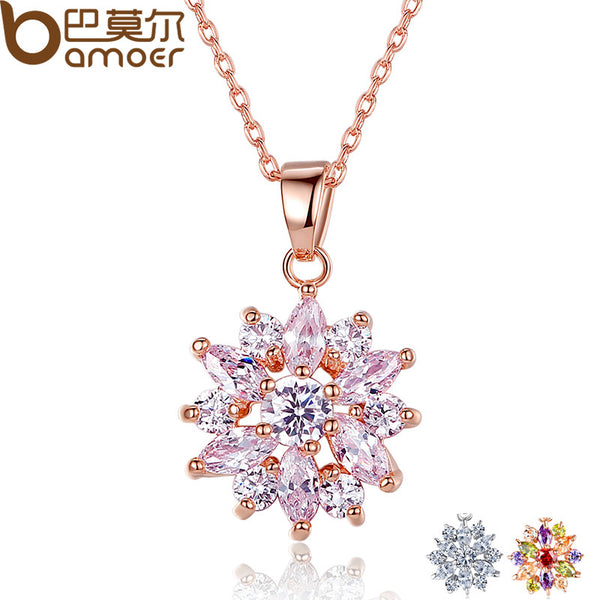 BAMOER Hot Sell   Gold Color Flower Necklaces Pendants with High Quality Cubic Zircon For Women Birthday Gift JIN024