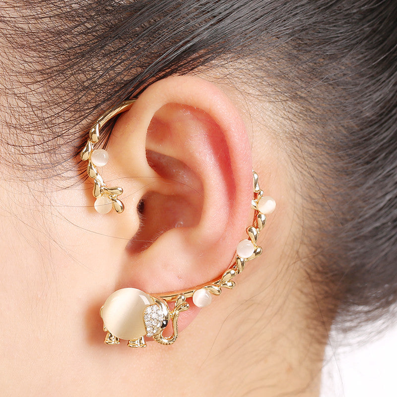 New Gold Color Earrings Bijoux Opal Rhinestone Insect Elephant Ear Cuff Clip Earring Fashion Jewelry Gift For Women
