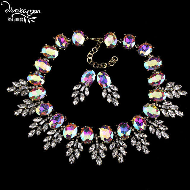 Dvacaman Brand 2017 Fashion Wedding Party Jewelry Sets Women Indian Bridal Statement Necklace&Earrings Accessory Love Gifts O40
