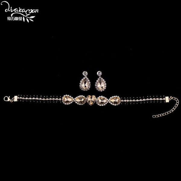 Dvacaman Brand 2017 Fashion Colorful Crystal Statement Choker& Earrings Wedding Party Jewelry Sets For Women Cheap Wholesale T15