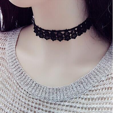 Clavicle kolye New Hot Men Short Vintage Punk Lace Leather Crystal Tattoo Necklace Gothic Bijoux Pendants Women Jewelry Choker