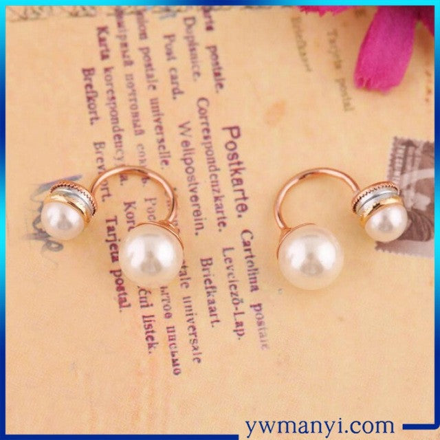 New Fashion Paragraph Hot Selling Magnet Clip Earrings Double Side Shining Simulated Pearl Earrings Big Pearl Earrings For Women