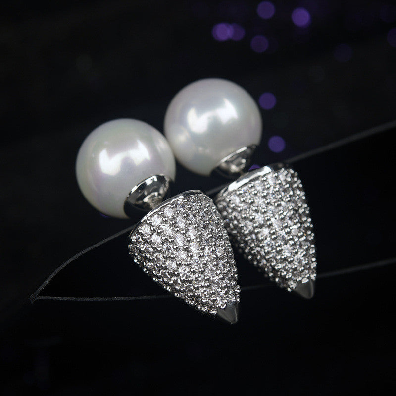 Fine Pearl Ball Cone Design Ear Stud Double Side AAA CZ Stone Stud Earrings Wedding Brand Jewelry  For Women Girl Gift