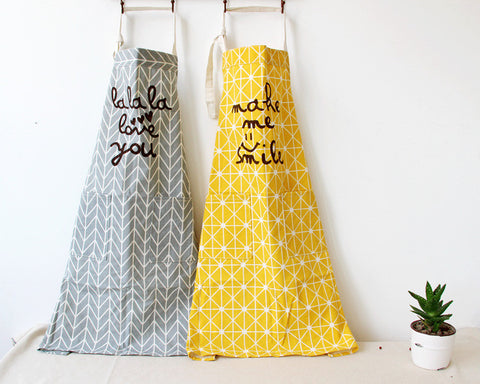 100% Cotton Kitchen Apron Printed Unisex Cooking Aprons Avental Dining Room Barbecue Restaurant Pocket Halterneck