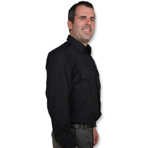 The BulletSafe Vest Concealed By A Black Uniform Shirt
