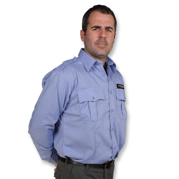 The BulletSafe Vest Concealed By A Blue Uniform Shirt