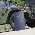 BulletSafe Bulletproof Shield with a Humvee