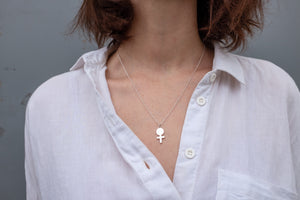 Sterling Silver Venus Pendant Necklace Symbolising Feminism and Girl Power