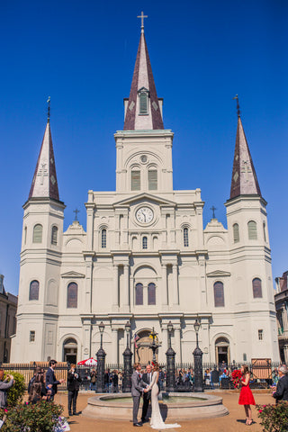 New Orleans Saint Louis Cathedral Jackson Square Wedding Bride Wearing Michael Costello Gown in Lace Groom Wearing Reiss Suit in Grey March 2015
