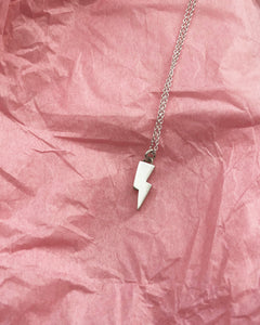 lightning bolt pendant on trace chain handmade
