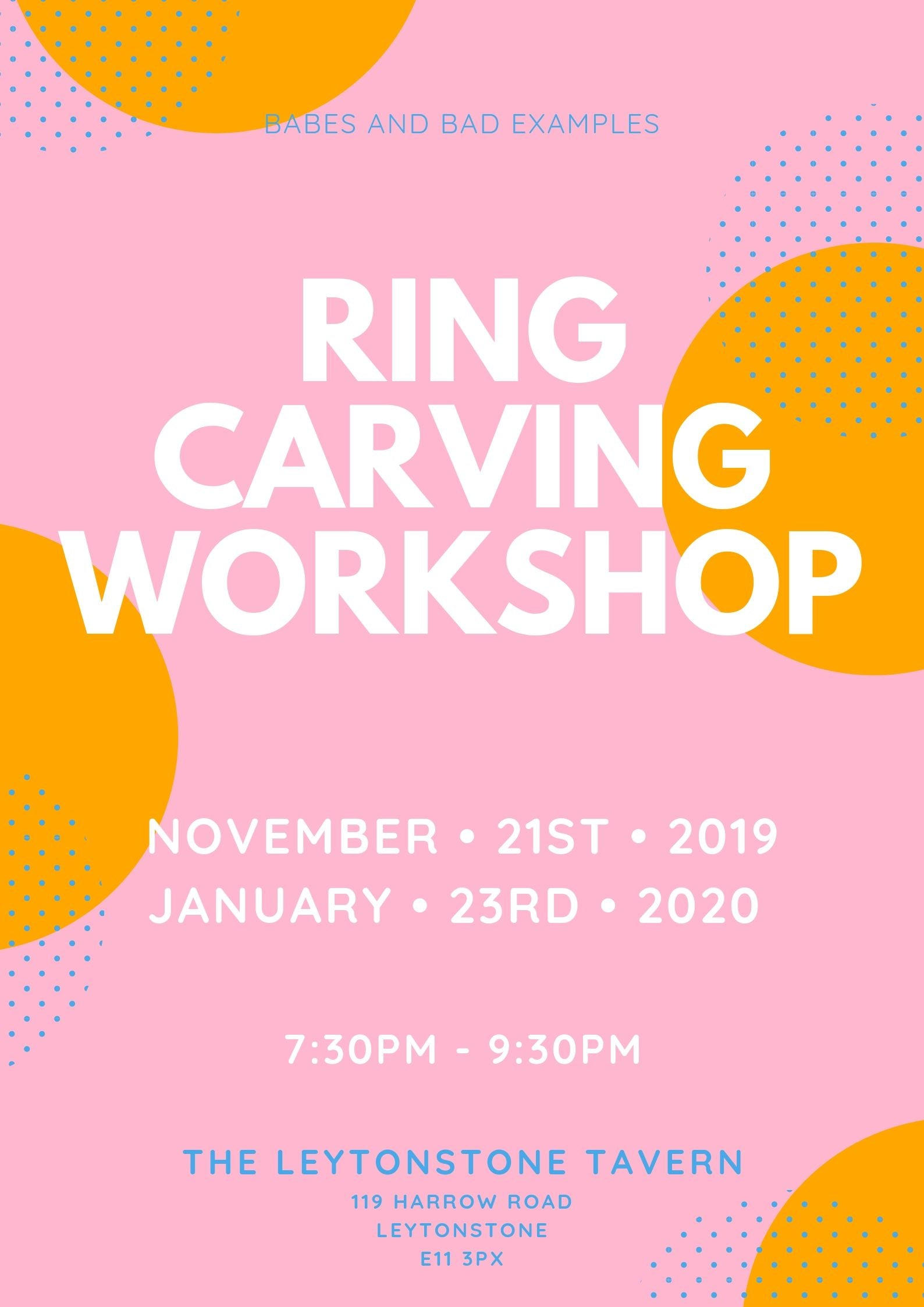 Silver Ring Carving Workshop from Jewellers Wax November 23rd 2019 The Leytonstone Tavern