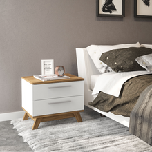 Boahaus Ibiza Nightstand, White - Brown, 2 drawers, wood legs