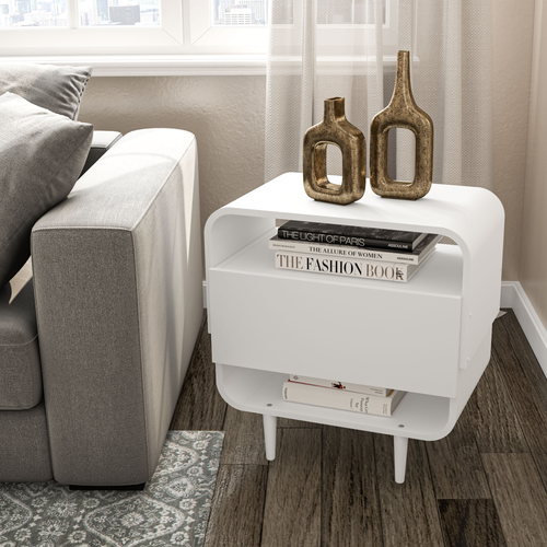 Boahaus Cadiz Nightstand, White, 4 legs, 1 drawer
