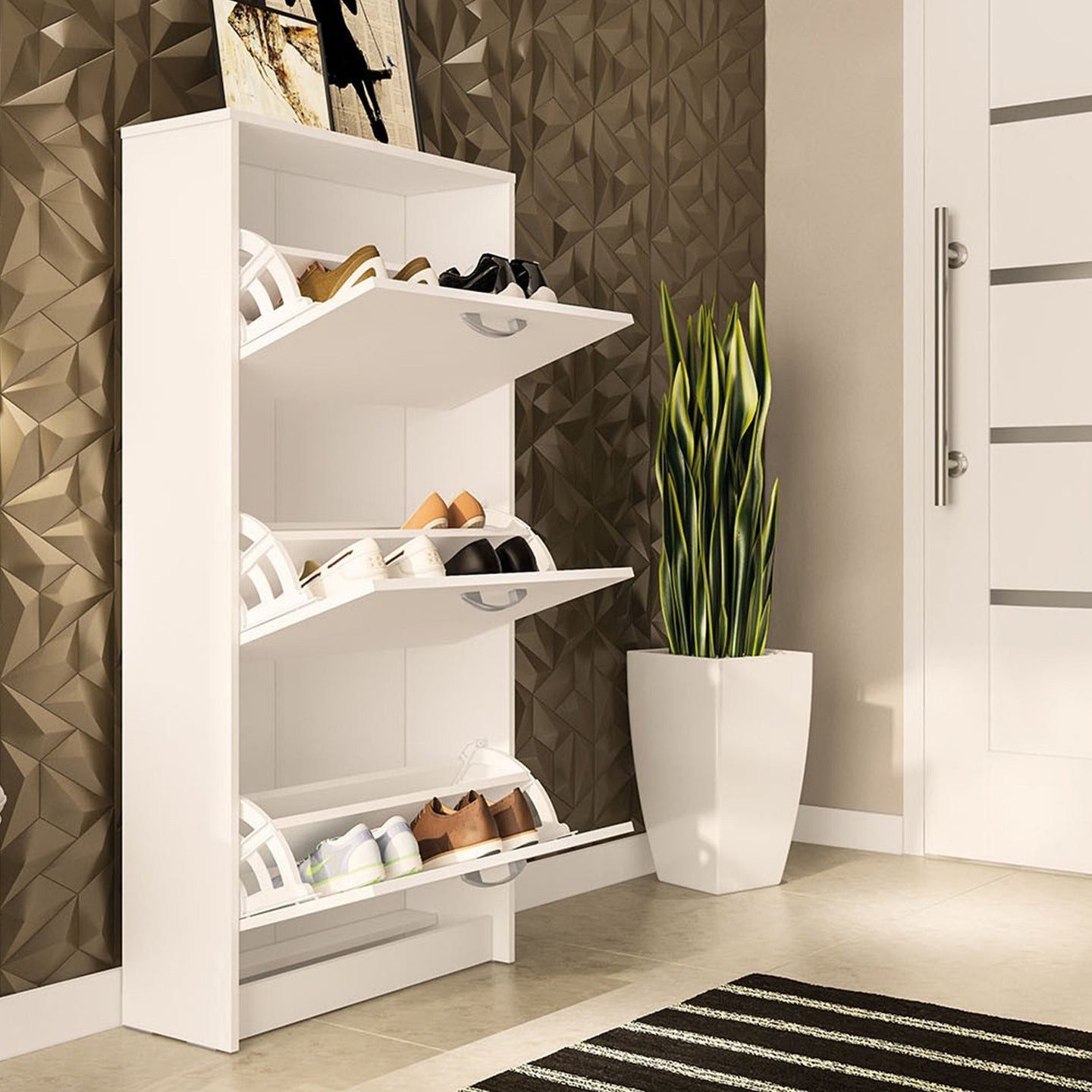Boahaus Antioch Shoe Organizer Cabinet, White, 03 drawers, up to 18 shoes