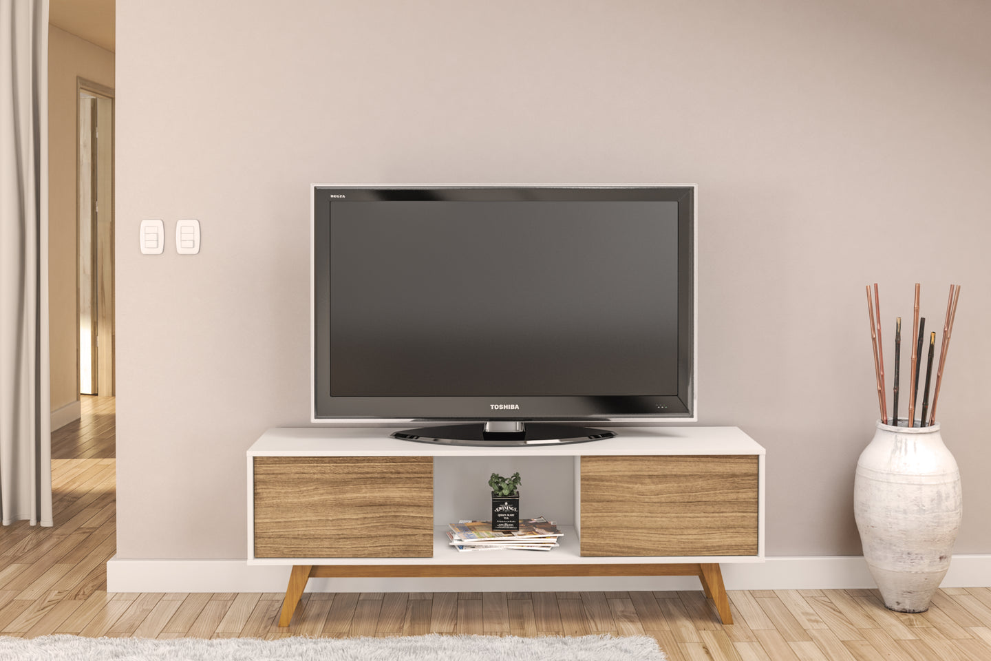 TV Stand, White Walnut,  up to 65