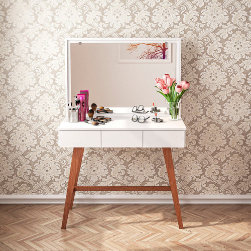 Boahaus Alice Dressing Table, 3 drawers, wood legs