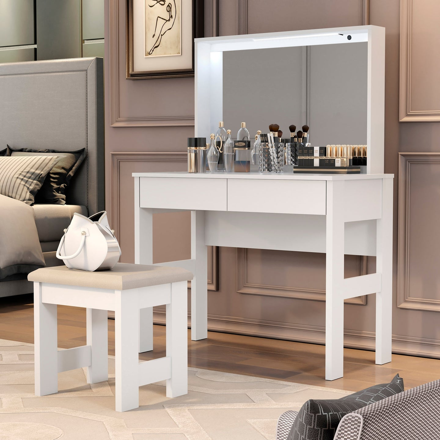 Boahaus Emma Vanity Set with LED lights