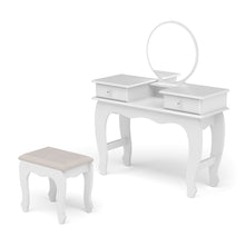 Boahaus Edith Vanity Set with bench, White, 02 drawers, Circular Mirror
