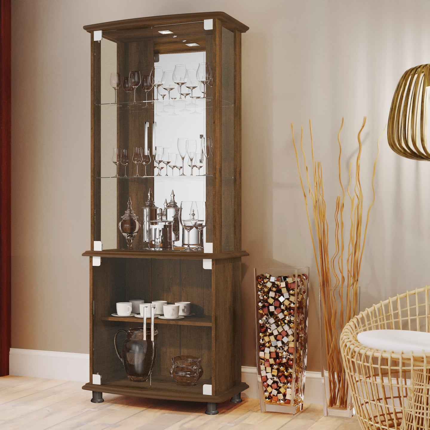 Boahaus Stirling Bar Cabinet with Lights