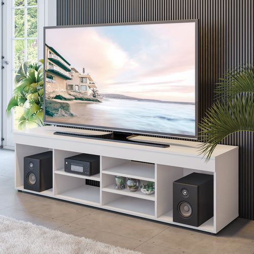 Boahaus Dakota TV Stand, White, TV up to 65 inches, 7 open shelves