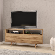 TV Stand, 1 door, two compartments, 2 open shelves, Brown