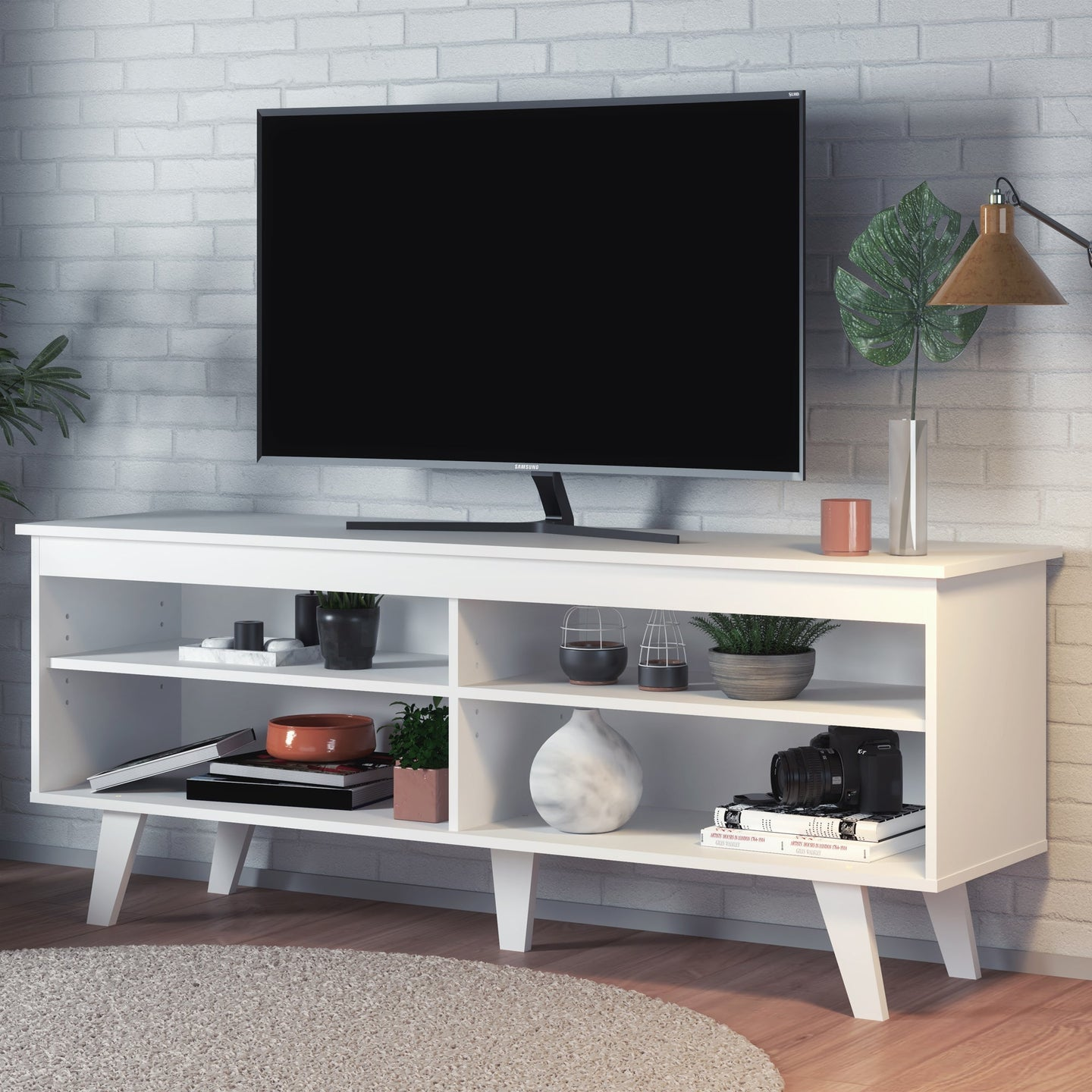 Boahaus Austin TV Stand, White, TV up to 55 inches, 4 open shelves