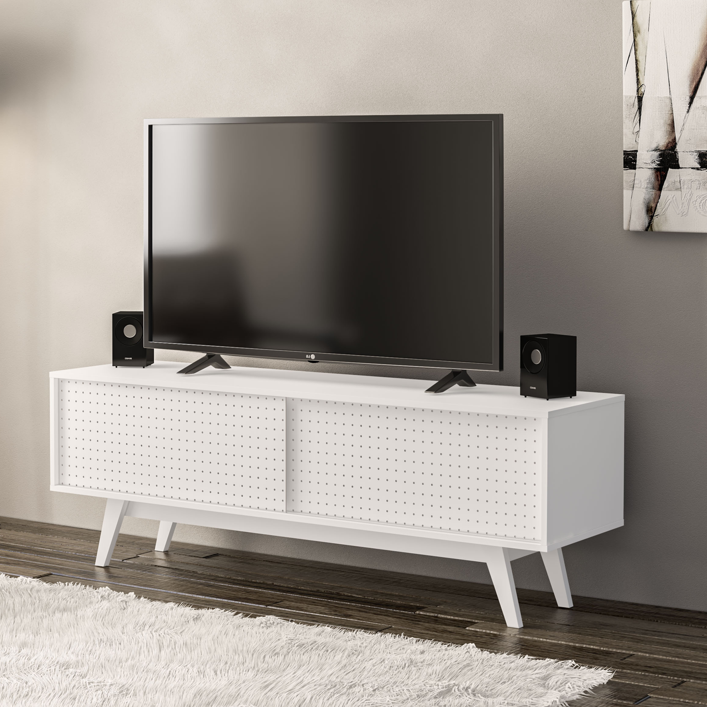 Boahaus Albany TV Stand. TV's up to 60 inches, 01 Cabinet, 03 Closed Compartments, 02 doors.