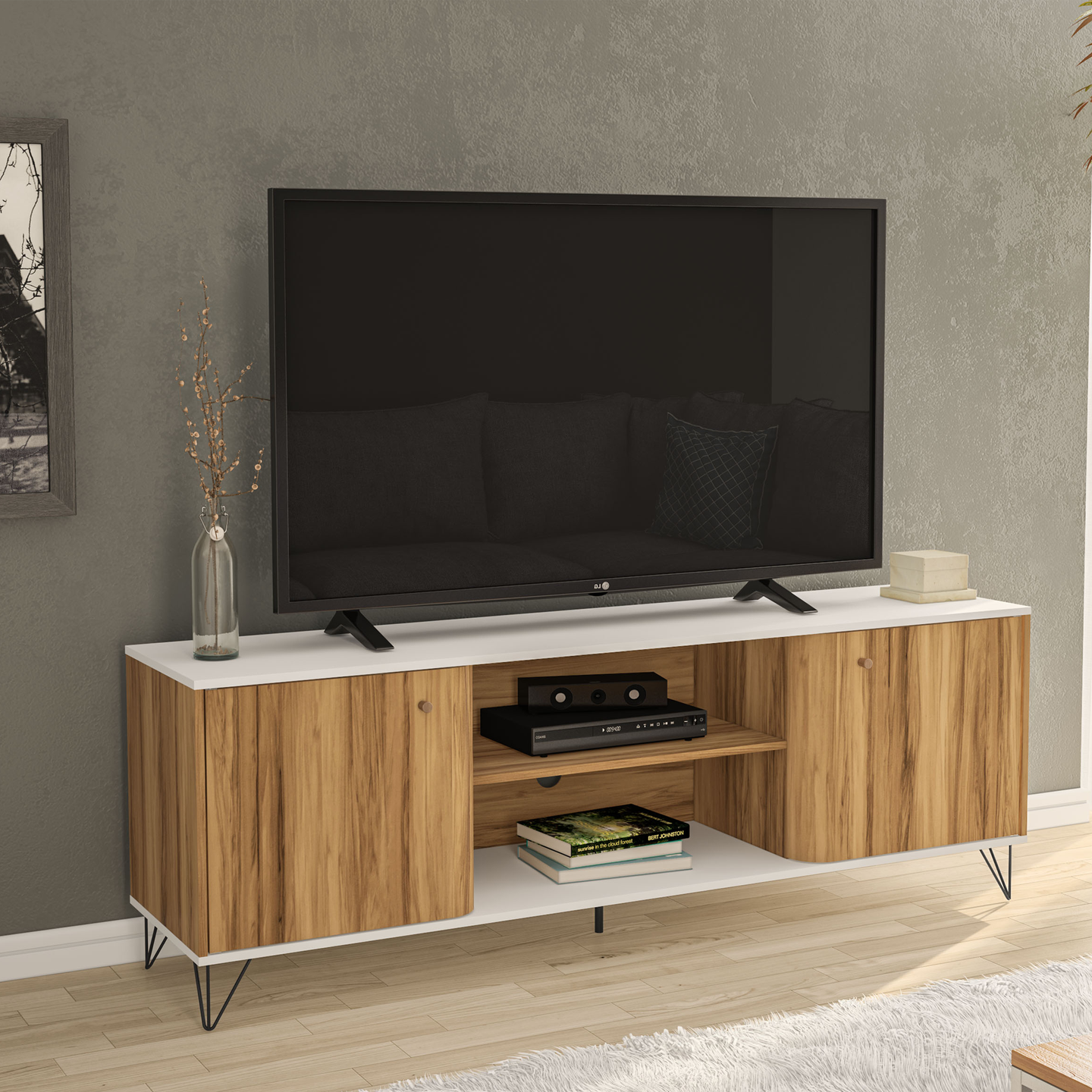 Boahaus Louisville TV Stand, TVs up to 70 inches, 02 cabinets, 02 open shelves