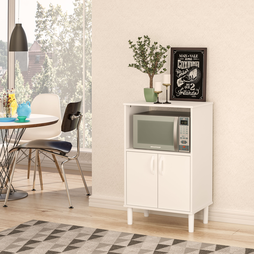 Boahaus Kitchen Cabinet with 4 plastic legs, two doors and 2 shelves