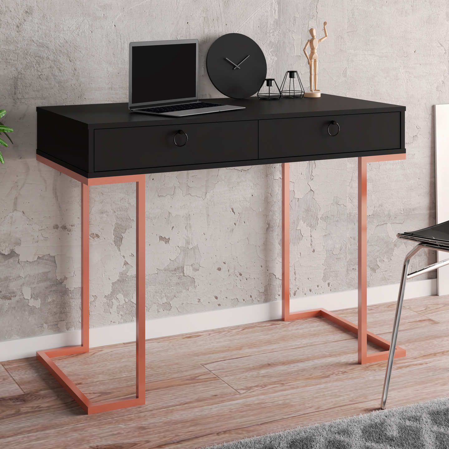 Boahaus Surabaya Desk, Black, 2 Drawers, Metal Frame