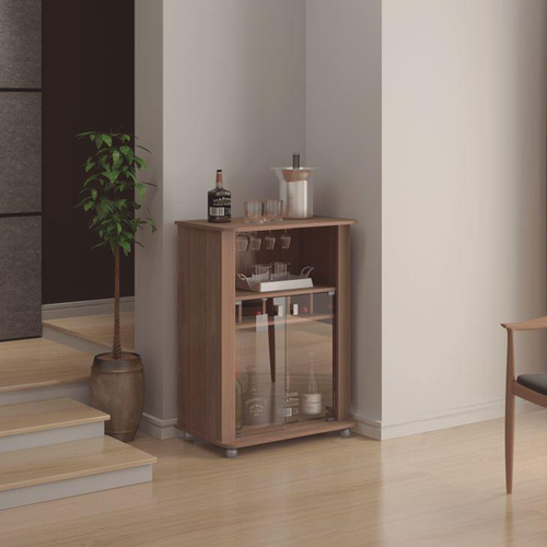 Modern Mini Bar, Brown, 2 doors, 4 feet and Wine Rack