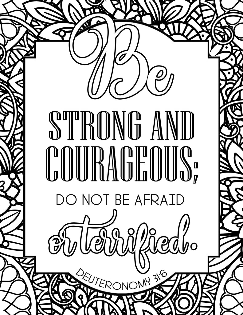 Be Strong and Courageous Coloring Sheet