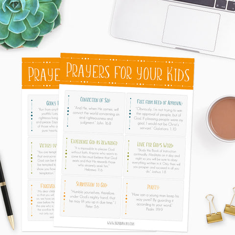 Prayer Card Pack: 10 War Room Prayers to Pray for Your Kids