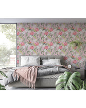 Self Adhesive Exotic Pink Flowers Botanical Removable Wallpaper CC229