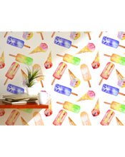 Removable Wallpaper Colorful Peel and Stick Wall Paper Ice Cream Juice Lolly Peelable Funny Decal Blue Yellow Red White Green Pink CC048