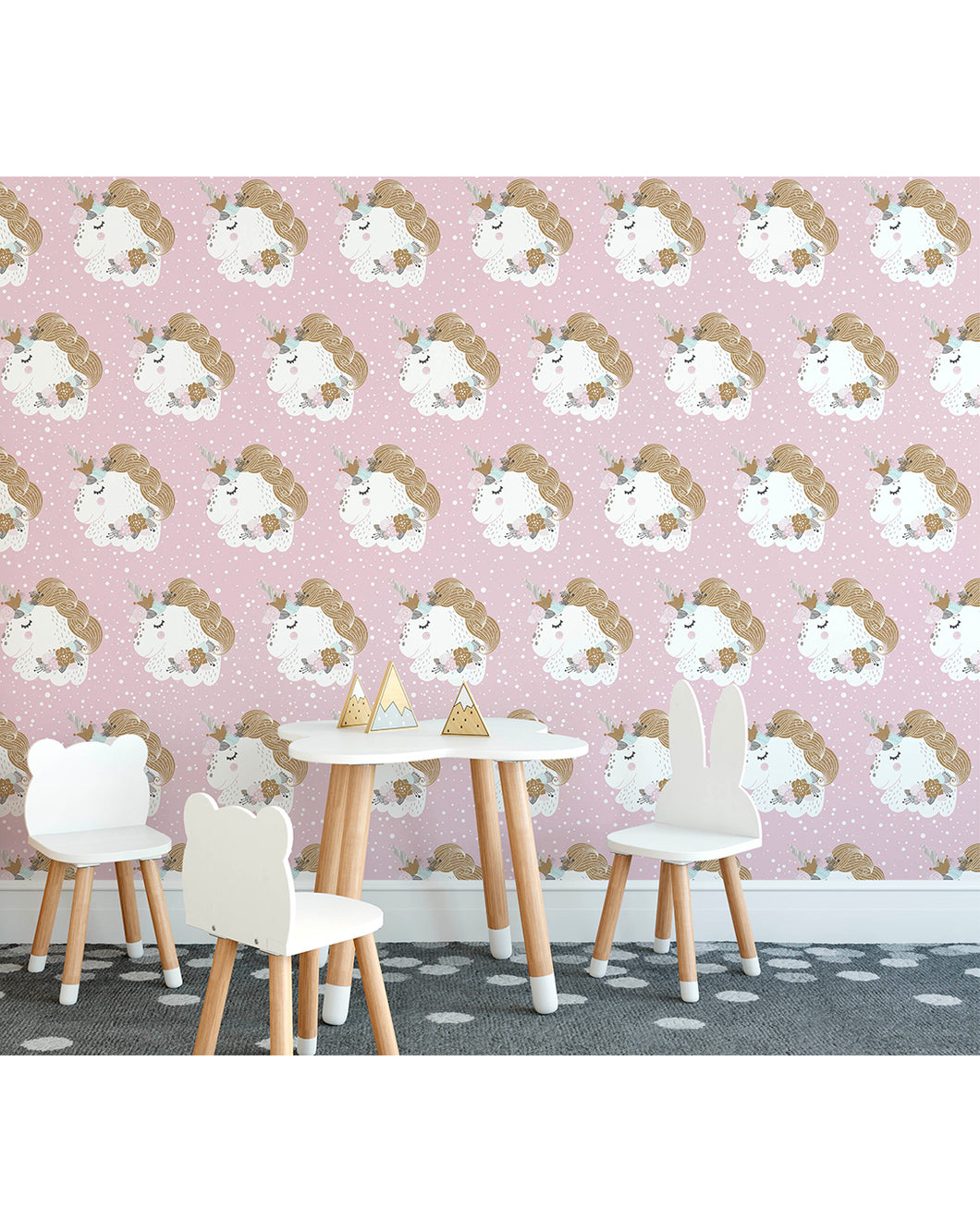 Self Adhesive Pink Unicorn Removable Wallpaer For Kids Room Nursery Costacover