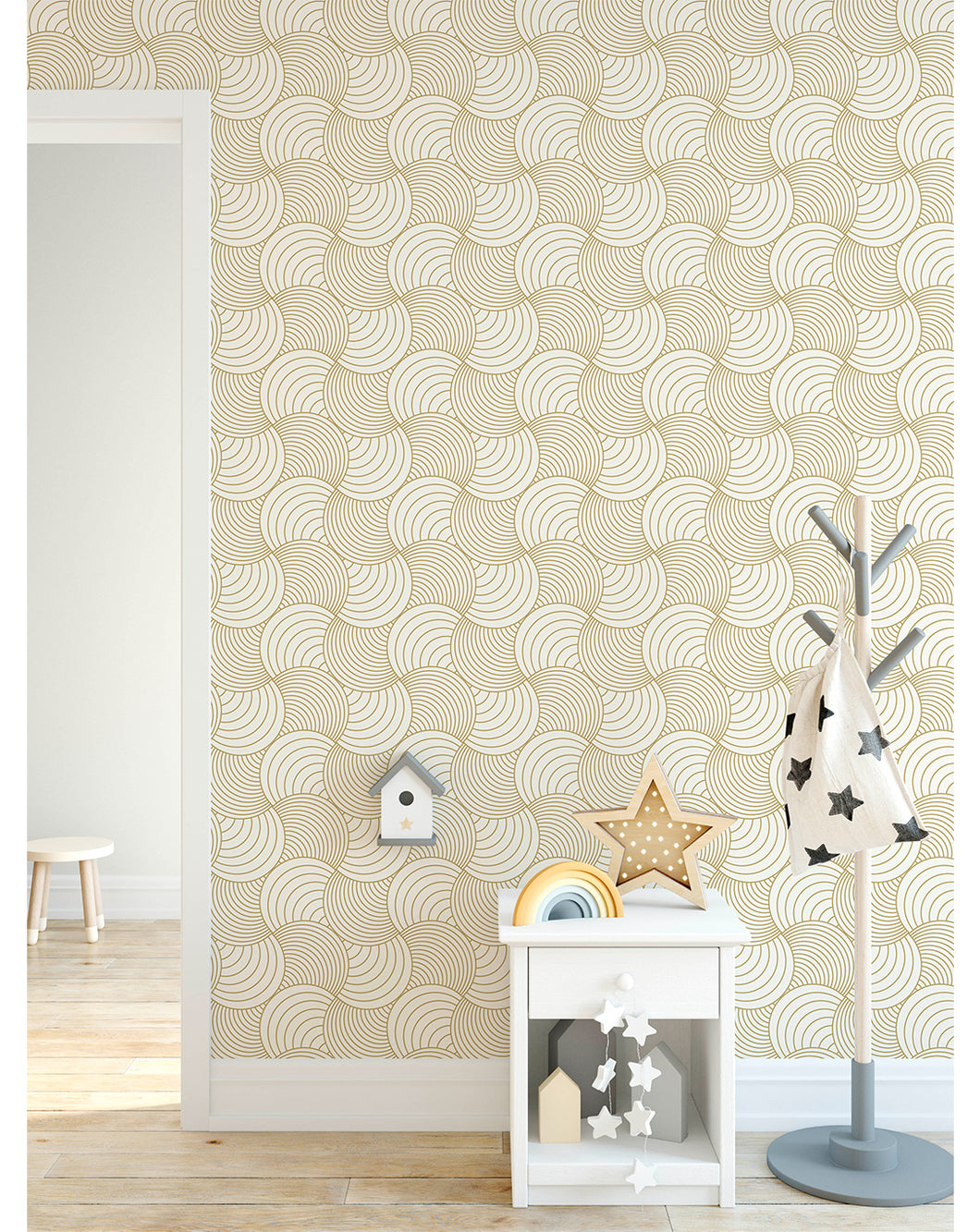 Abstract Gold Stripe Wave Removable Wallpaper Self Adhesive Geometric Wall Paper Vinyl Peel And