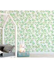 Temporary Floral Green Leaves Removable Wall Paper Blooming Spring Repositionable Wallpaper Blossom Peel and Stick Watercolor Vinyl CC017