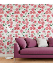 Watercolor Hand Drawn Red Roses Self Adhesive Removable Wallpaper Floral Accent Peel and Stick Temporary Wall Decor, Easy to Apply CC138