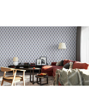 Geometric Art Deco Interlocking Diamonds Self Adhesive Removable Wallpaper Retro Style Navy Blue Peel and Stick Application For Walls CC136