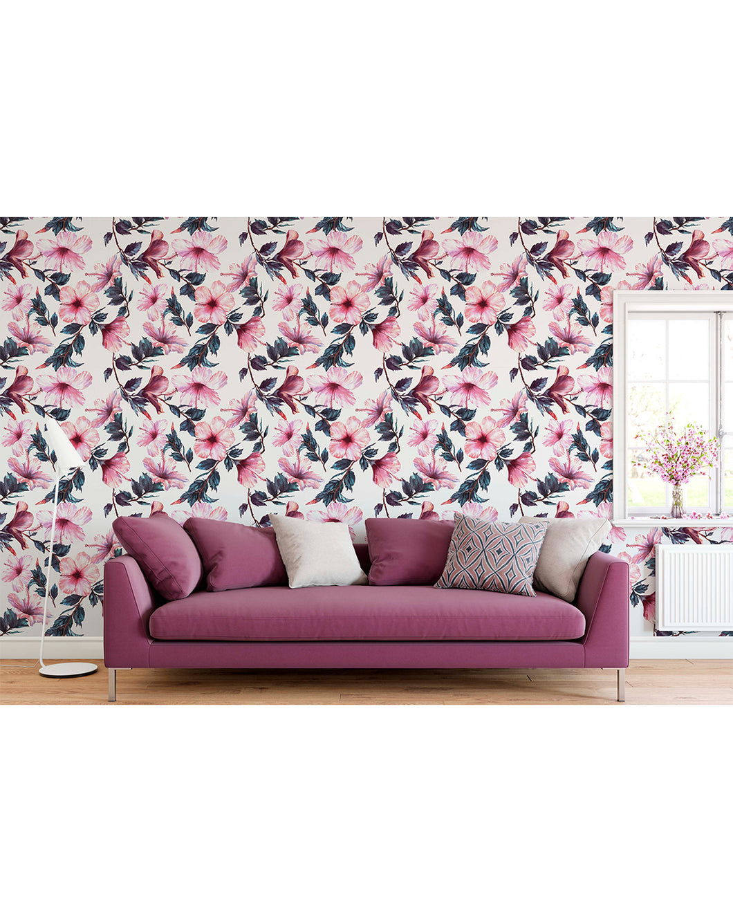 Self Adhesive Removable Wallpaper Floral Pink Hibiscus Flowers