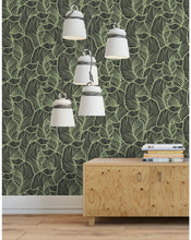 Green Tropical Leaves Removable Wallpaper, Self Adhesive Jungle Wall Paper, Peel and Stick Leaf Wall Decor for Walls CC155