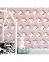 Pink Unicorn Removable Wallpaper for Girls Room, Nursery | Self Adhesive Wall Paper with Sleeping Unicorns and Flowers Wall Decor CC149