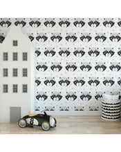 Kids room removable wallpaper, Self adhesive wall paper with cute friendly raccoons, Peel and stick wall decor application CC139