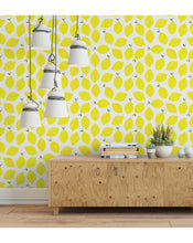 Juicy watercolor hand drawn yellow lemons Self Adhesive Wallpaper, Removable Wallpaper, Wall Sticker, Wall Decal CC010