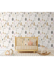 Kids Room Removable Wallpaper with Modern Scandinavian Style Tree Leaves, Self Adhesive Pink Beige Minimalistic Wall Paper Vinyl CC150